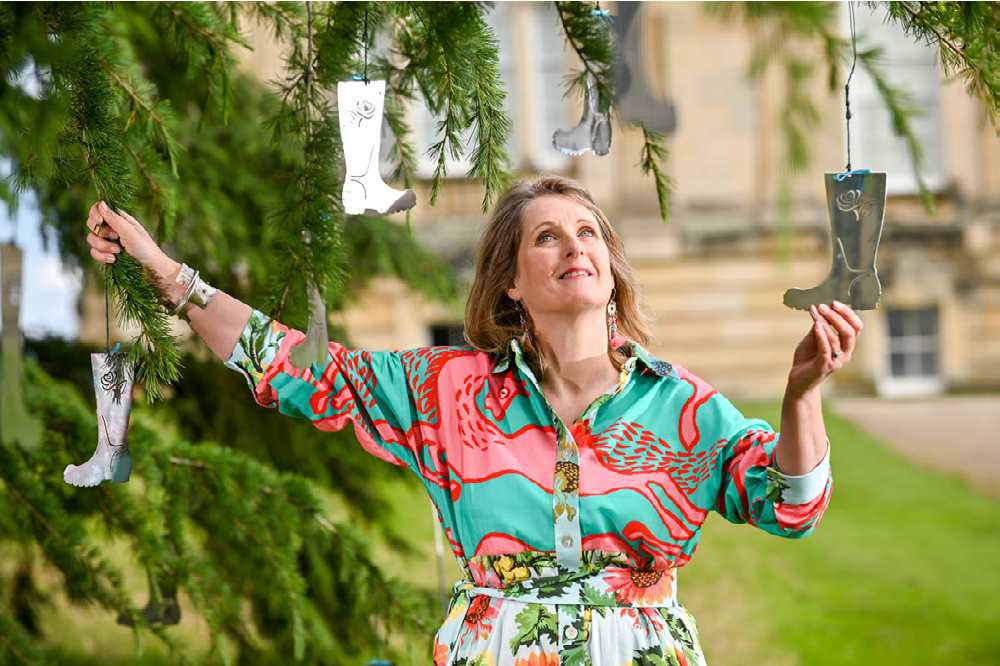 Anita Bowerman with art installation at Castle Howard, York