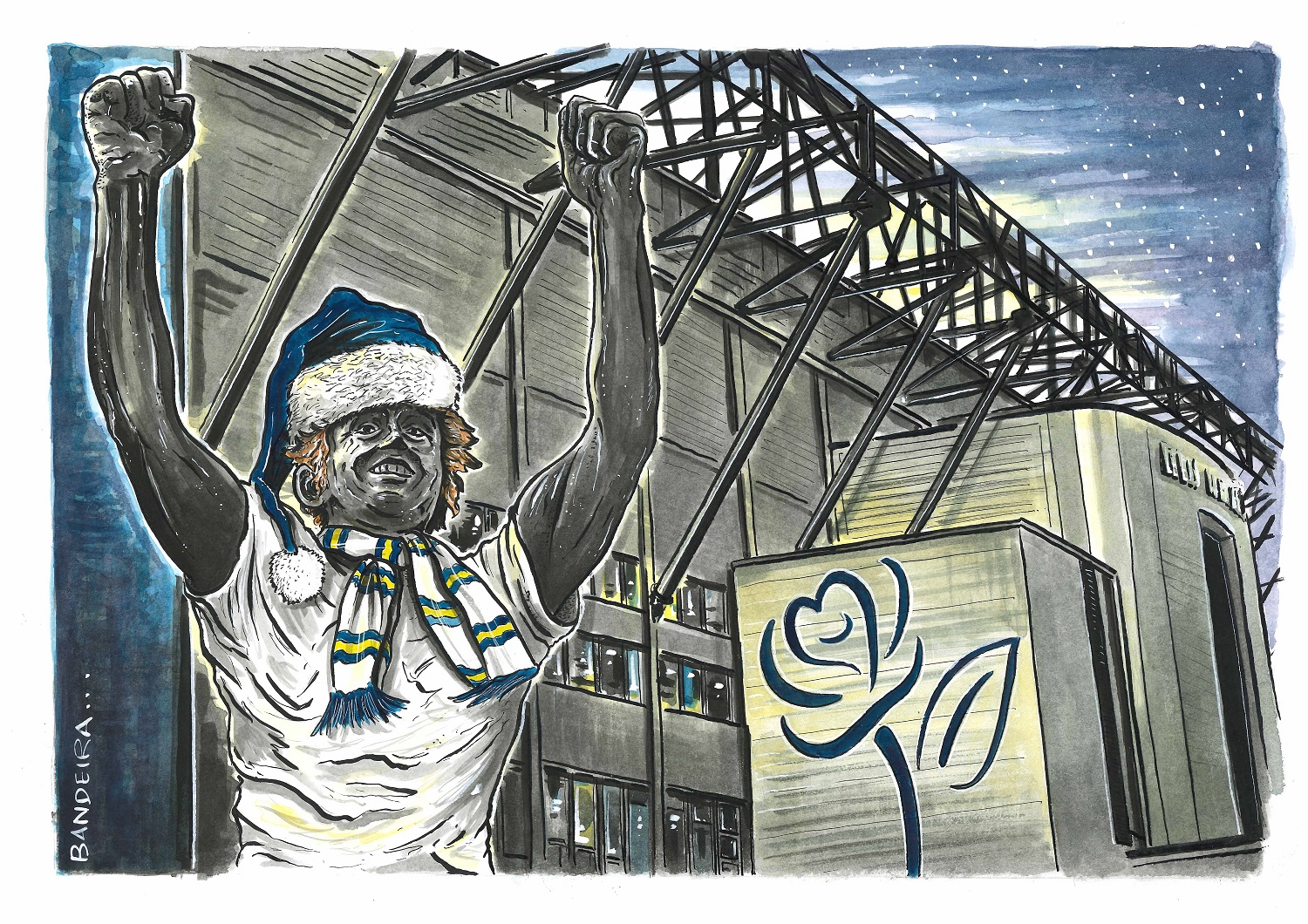 Limited edition Christmas card, designed by Yorkshire Post illustrator Graeme Bandeira
