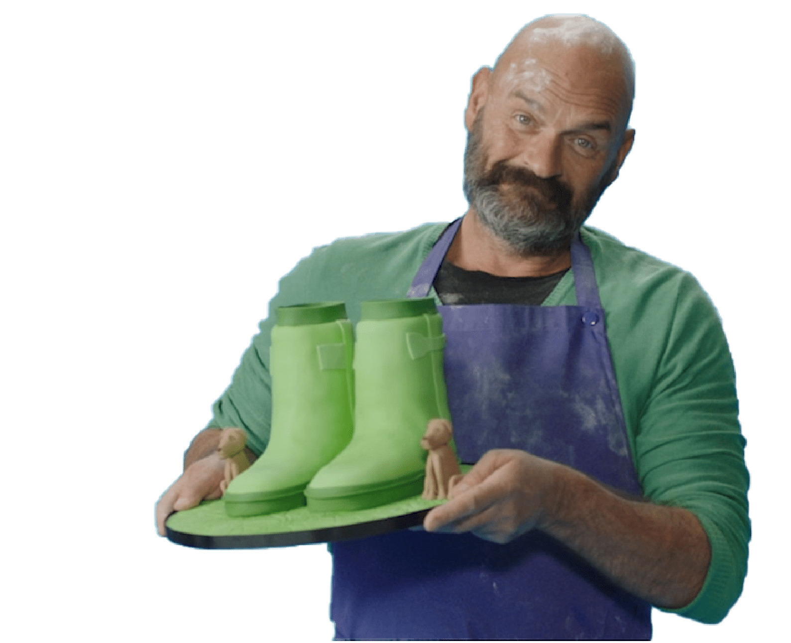 A man holding a Welly Cake